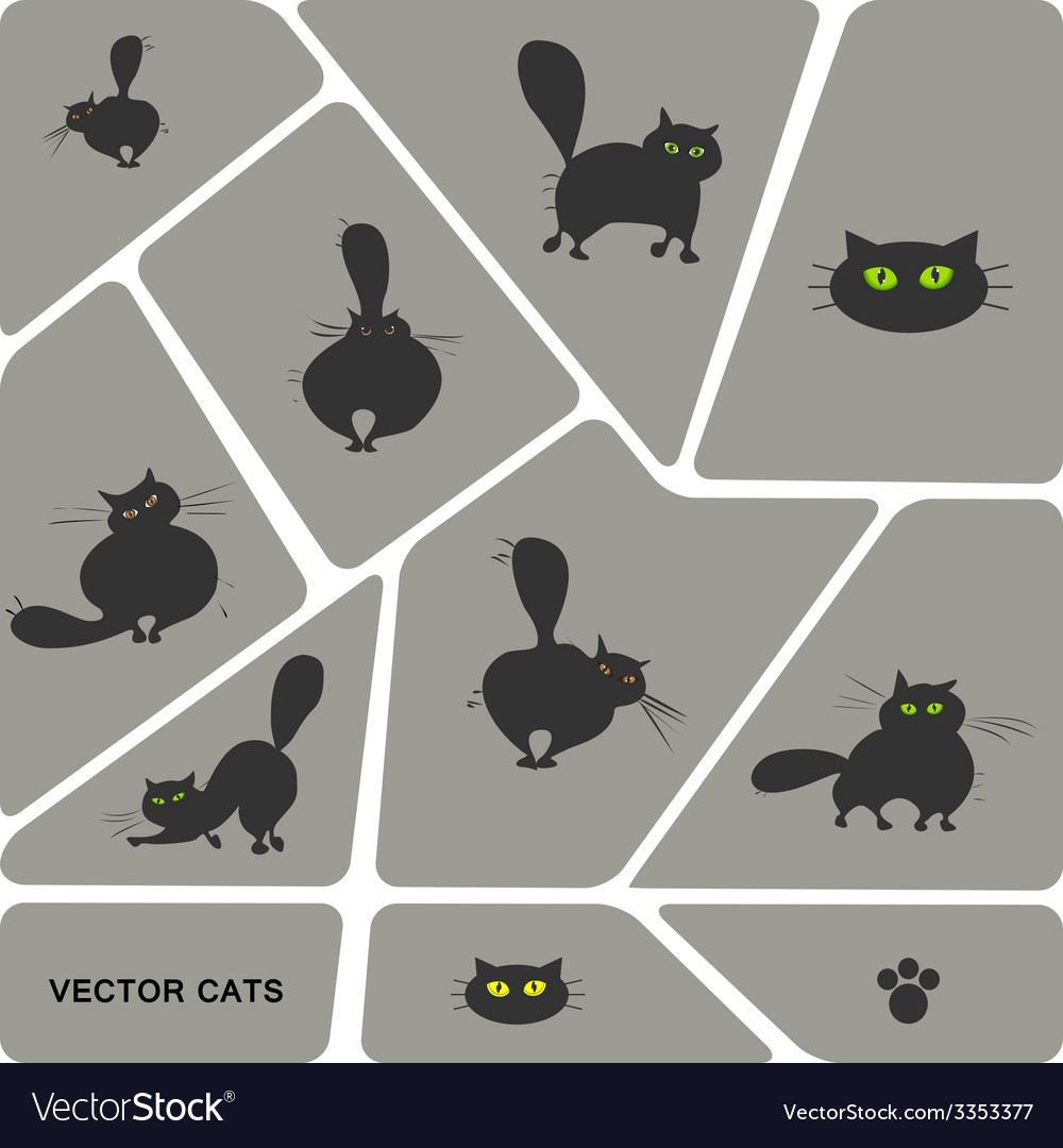 Set of domestic cats in different poses vector | Price: 1 Credit (USD $1)