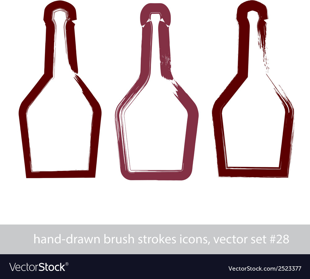 Set of hand-drawn stroke simple empty bottle of vector | Price: 1 Credit (USD $1)