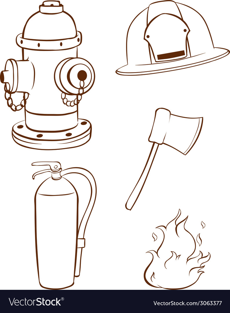 Simple sketches of the things used by a fireman vector | Price: 1 Credit (USD $1)