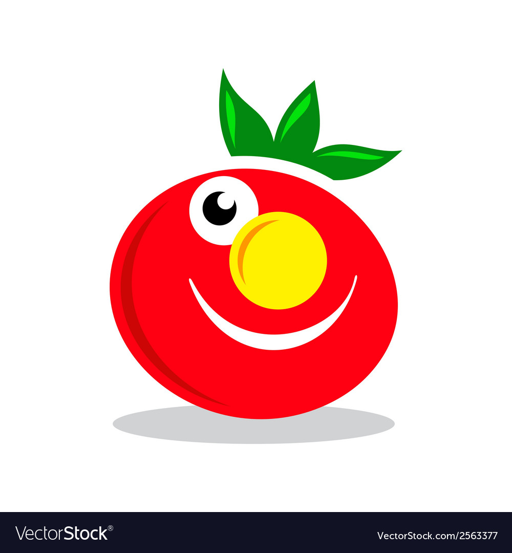Smile character tomato sign vector | Price: 1 Credit (USD $1)