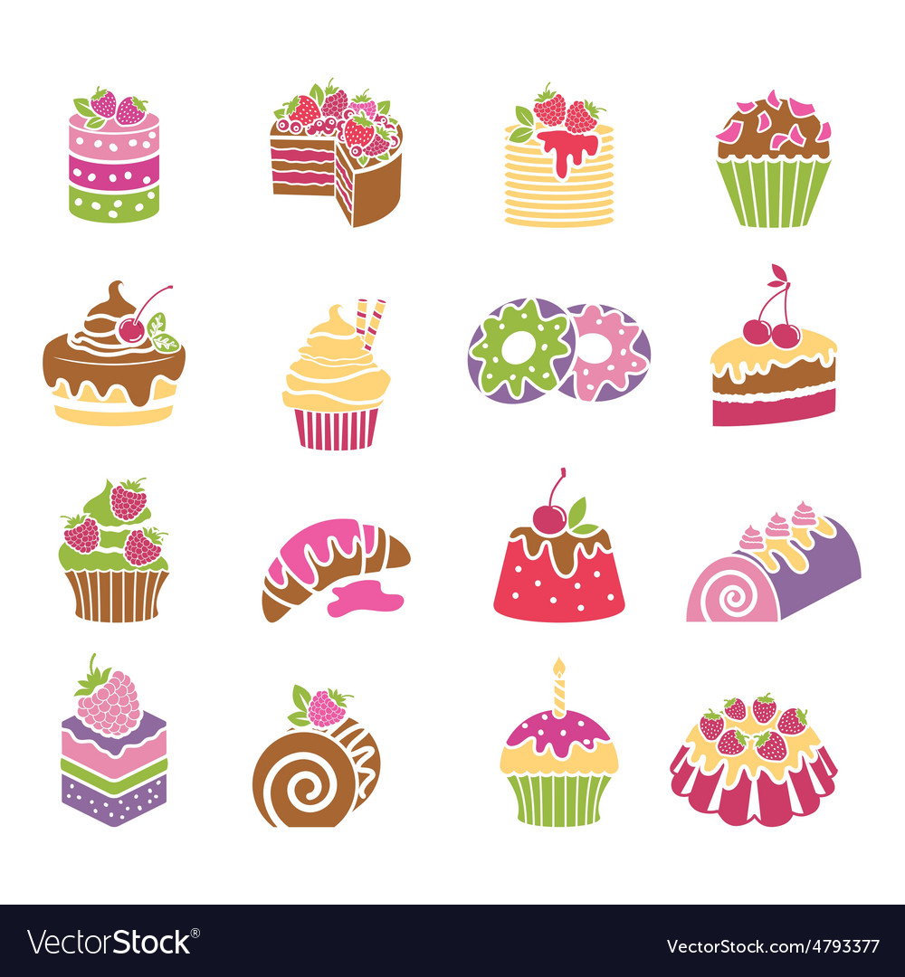 Sweets and desserts icons in spring colors vector
