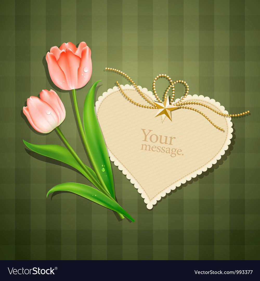 Tulips and modern card heart paper vector | Price: 3 Credit (USD $3)