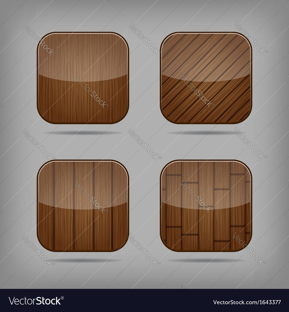 Wooden buttons set vector