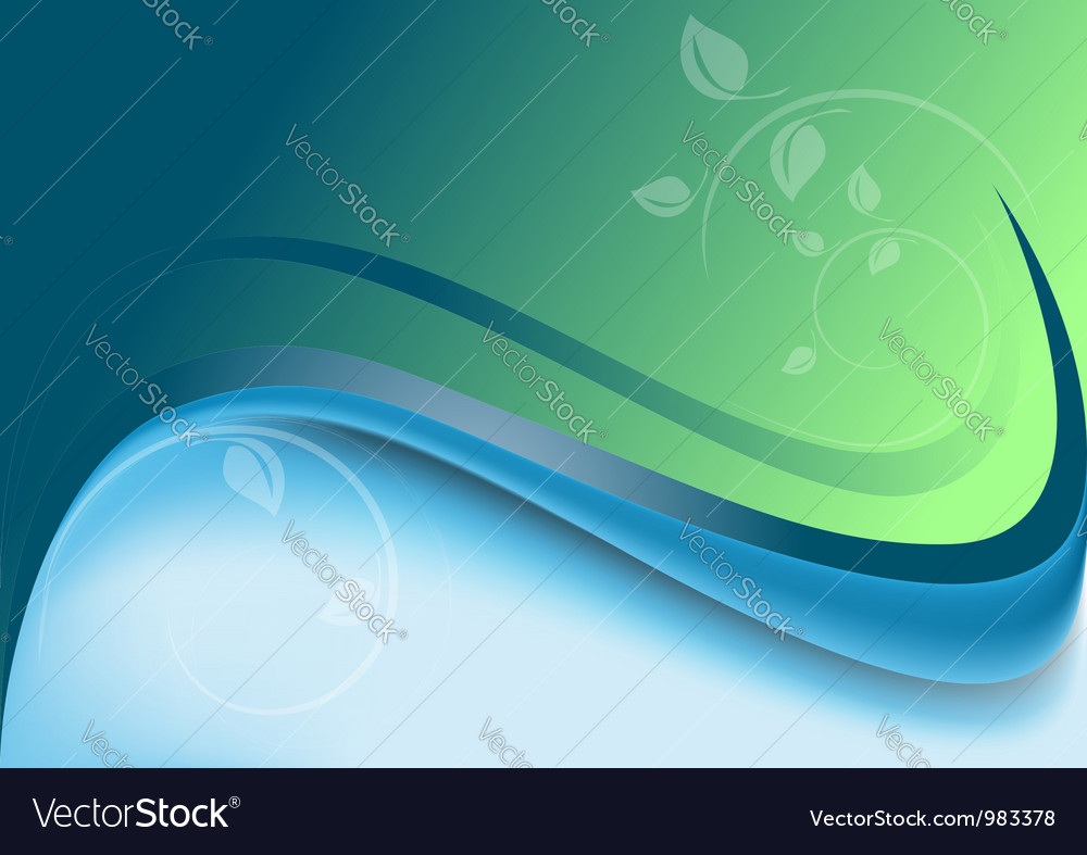 Abstract waves green blue background vector | Price: 1 Credit (USD $1)