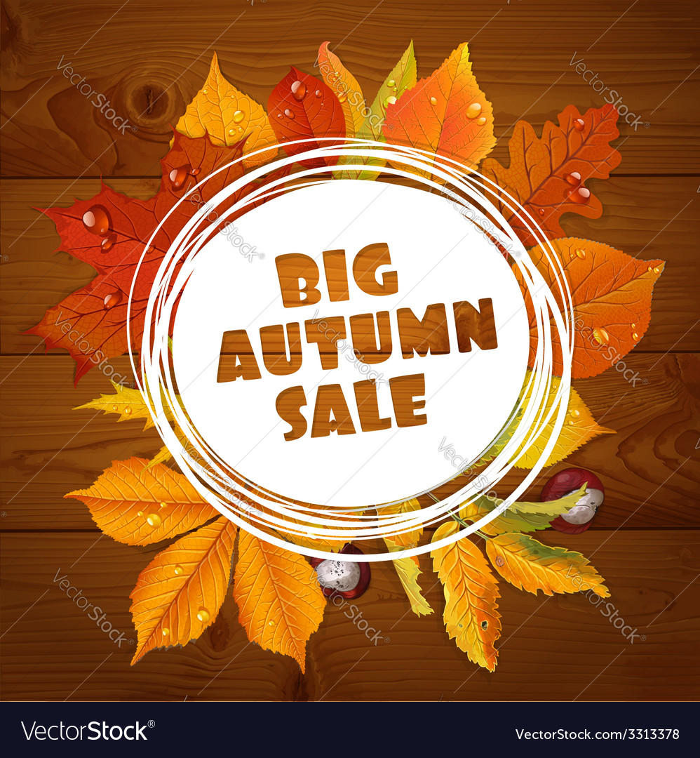 Background of big autumn sale with red leaves vector | Price: 1 Credit (USD $1)