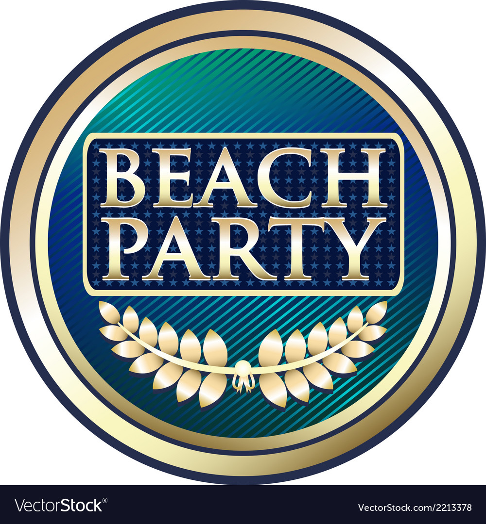 Beach party blue label vector | Price: 1 Credit (USD $1)