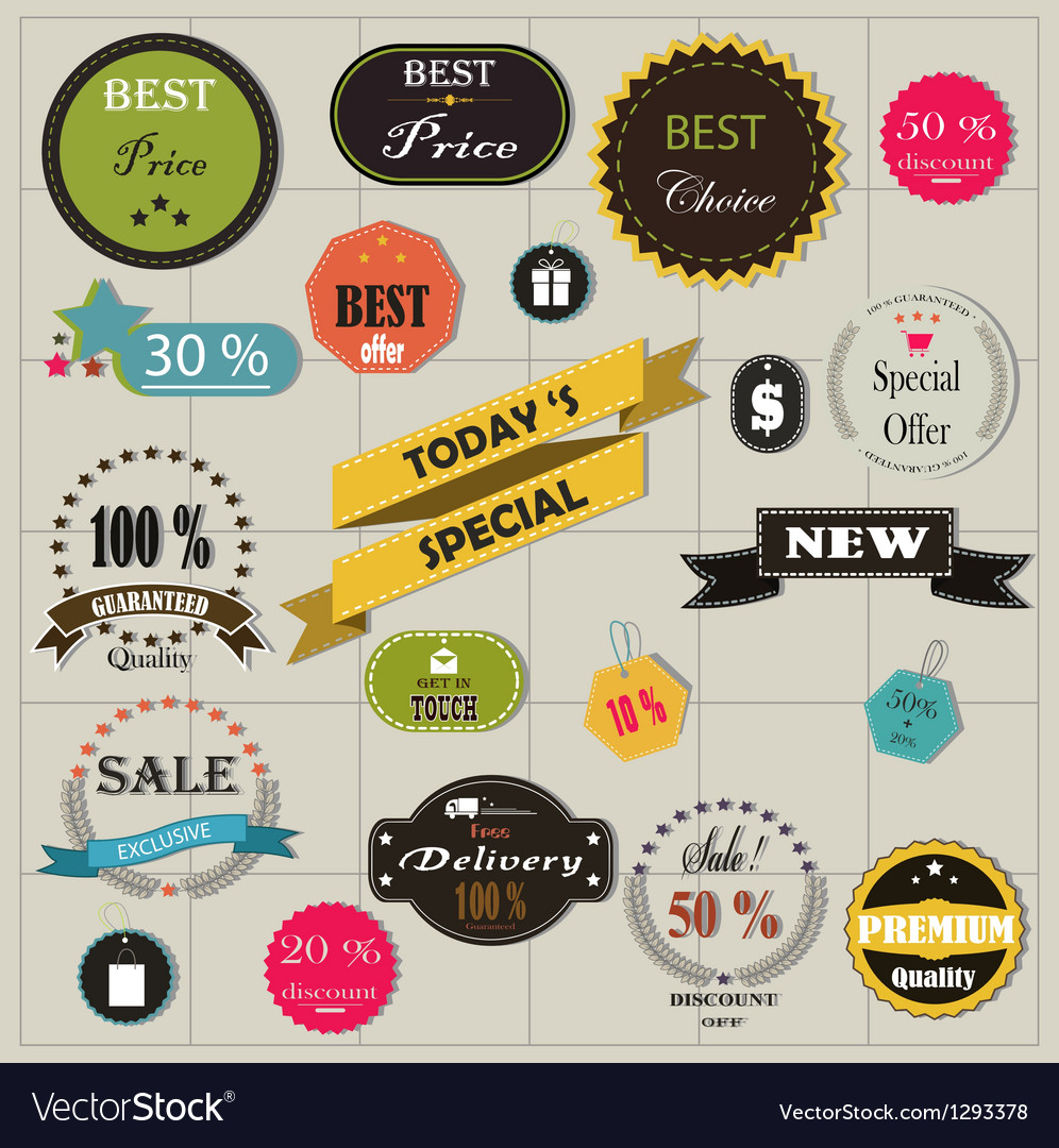 Big set of stickers and ribbons vector | Price: 3 Credit (USD $3)