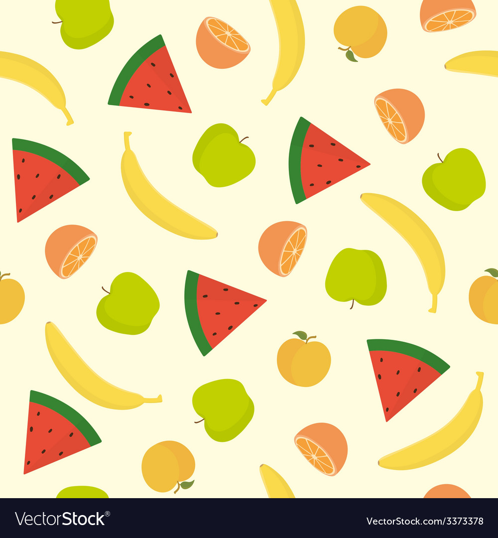 Bright fruit seamless pattern vector | Price: 1 Credit (USD $1)