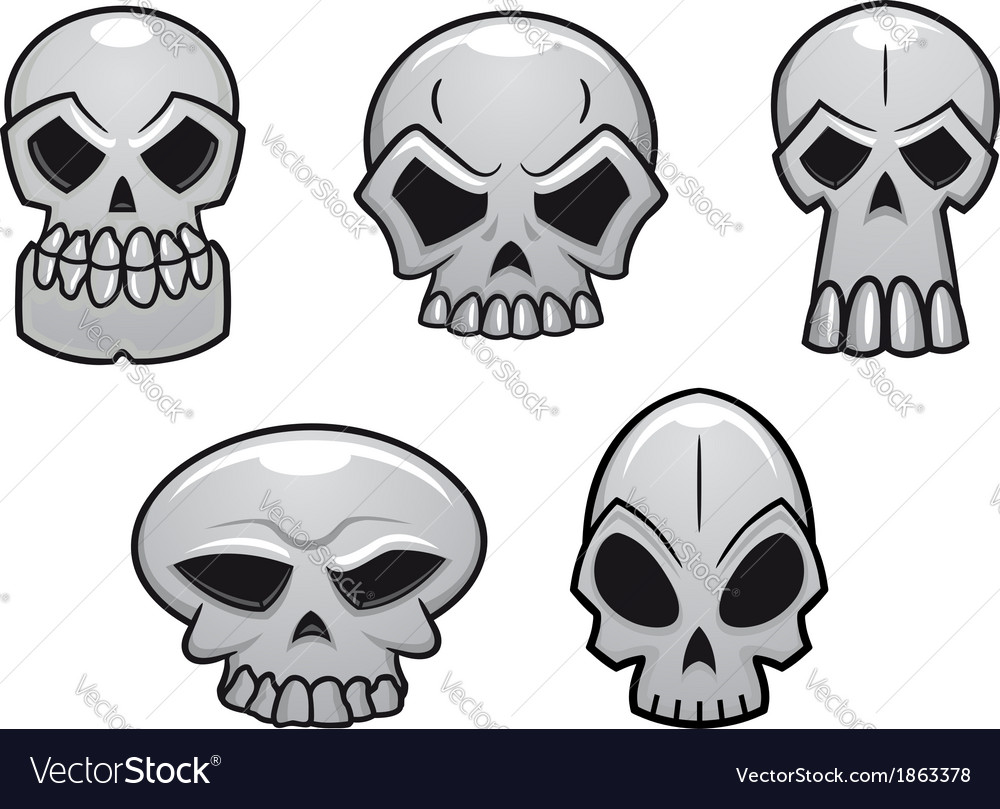 Different human skulls for halloween vector | Price: 1 Credit (USD $1)