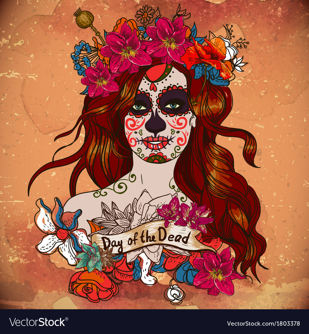 Girl with sugar skull day of the dead vector | Price: 1 Credit (USD $1)