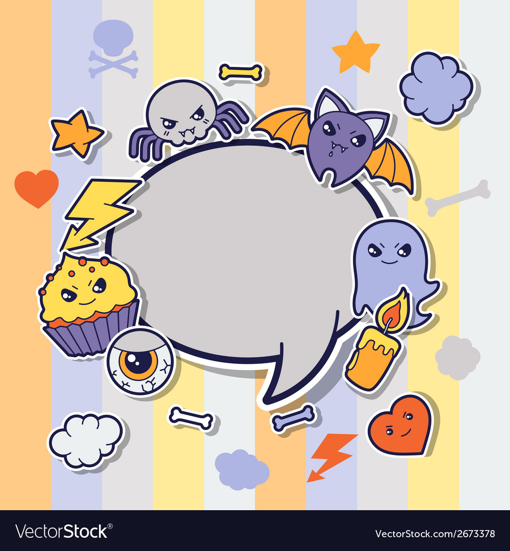 Halloween kawaii greeting card with cute sticker vector | Price: 1 Credit (USD $1)