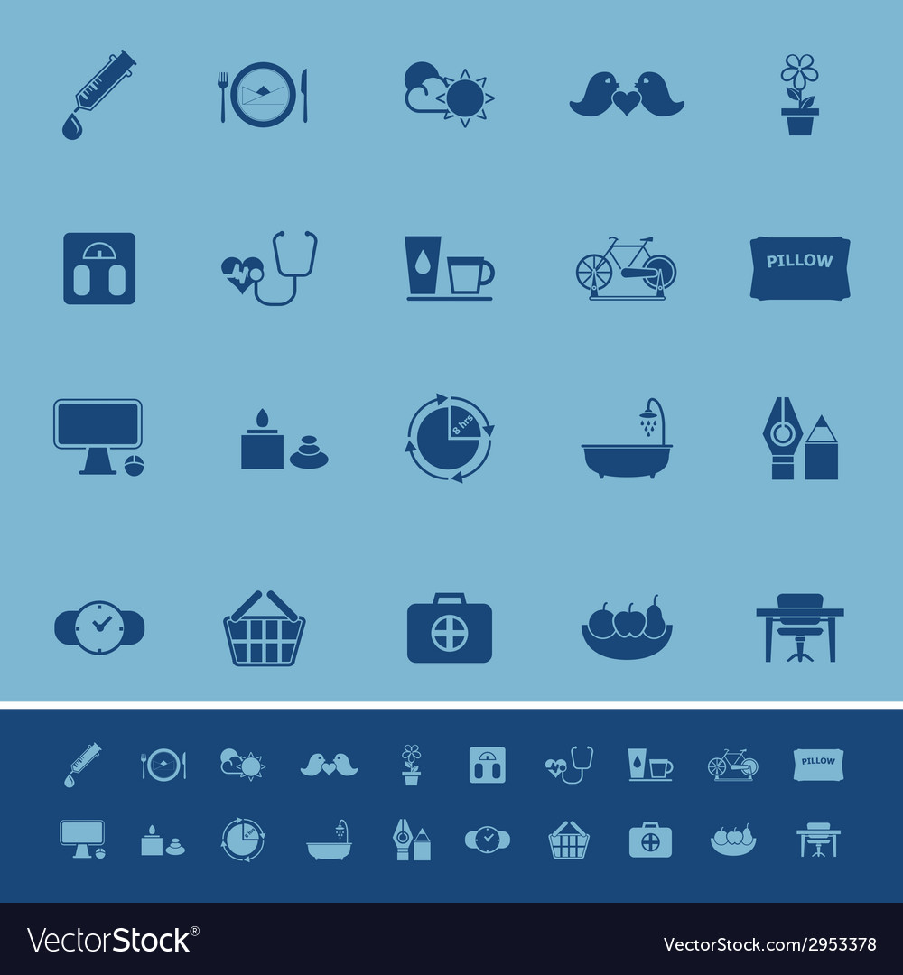 Health behavior color icons on blue background vector | Price: 1 Credit (USD $1)