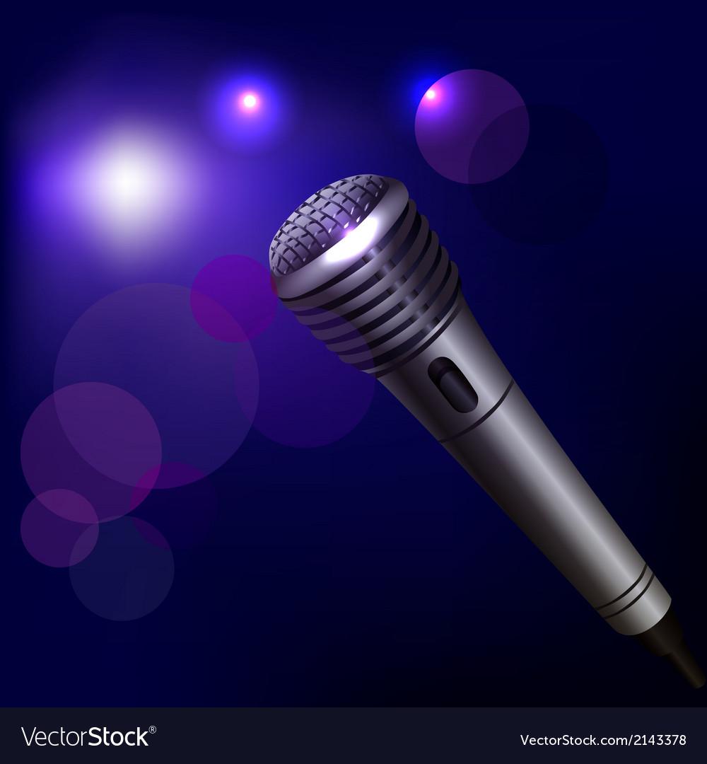 Microphone emblem on dark background vector | Price: 1 Credit (USD $1)