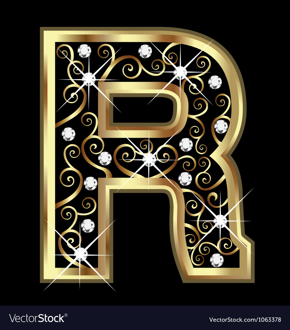 R gold letter with swirly ornaments vector