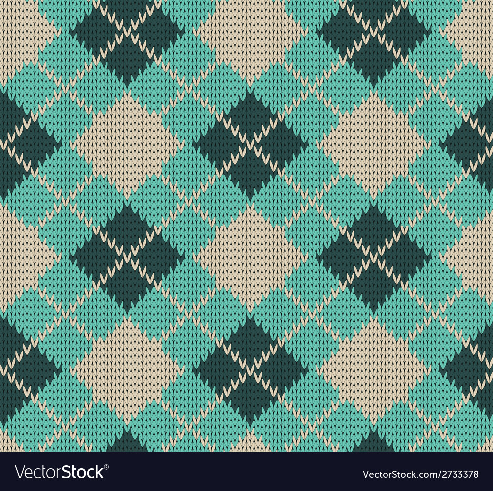 Seamless rhombus blue color knitted pattern vector | Price: 1 Credit (USD $1)