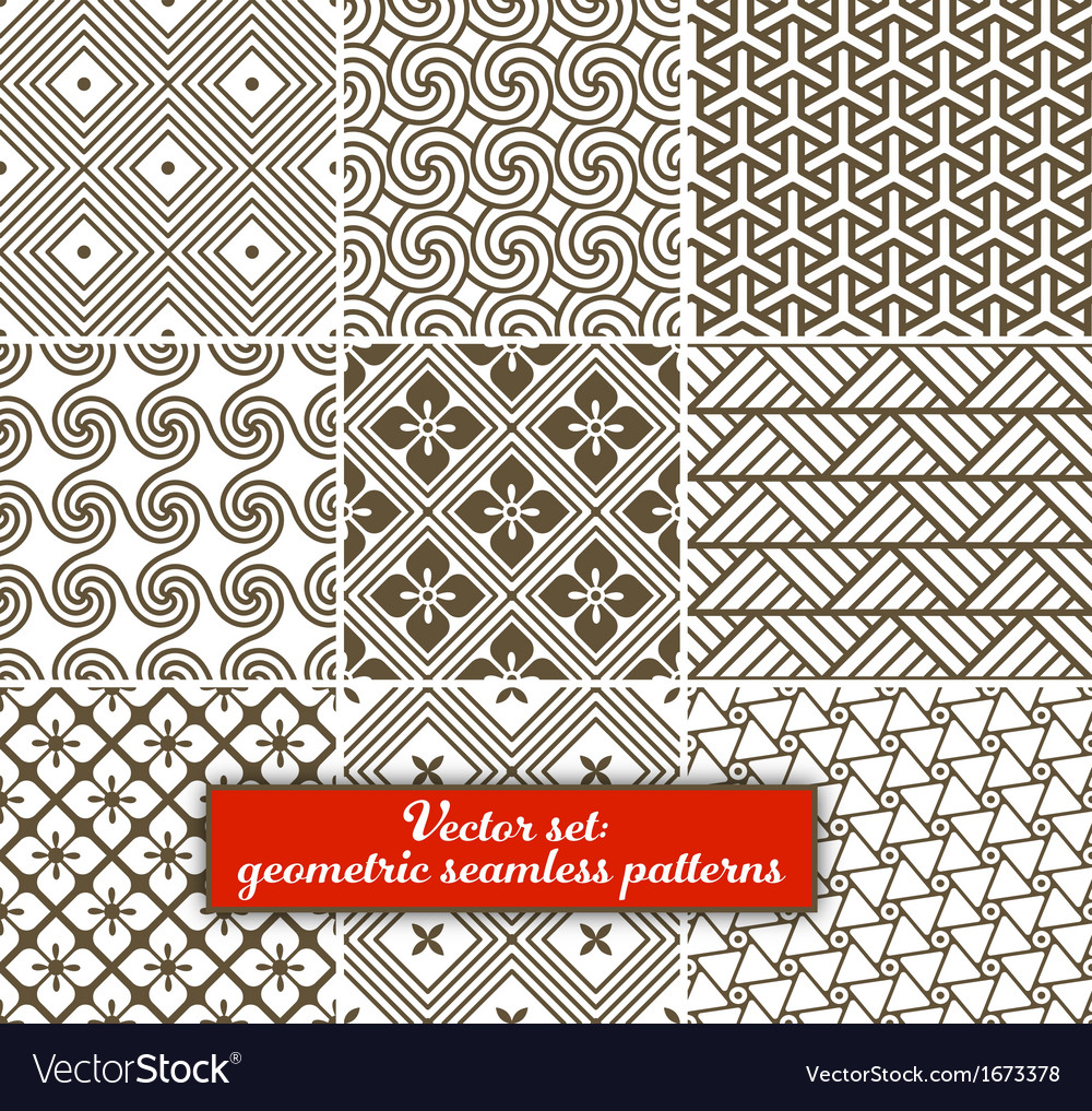 Set 9 geometric seamless patterns vector | Price: 1 Credit (USD $1)