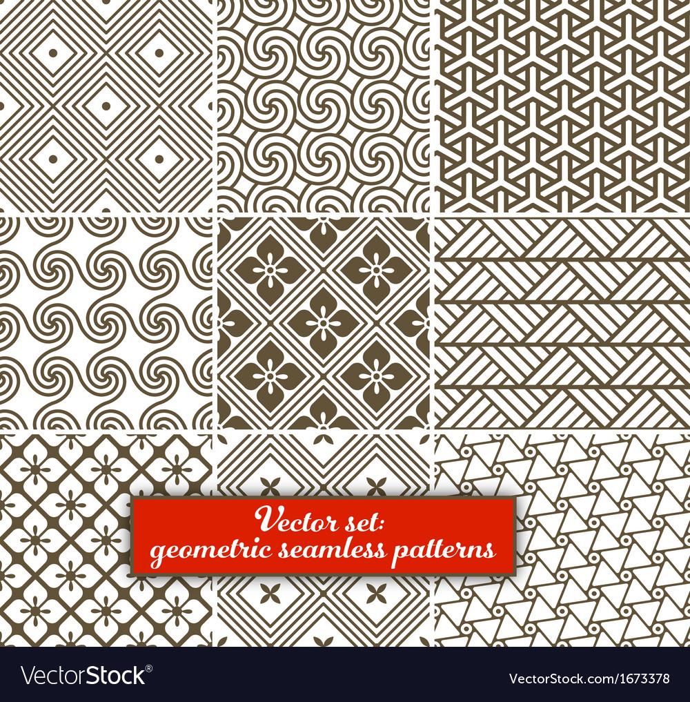 Set 9 geometric seamless patterns vector | Price: 1 Credit (USD $1)