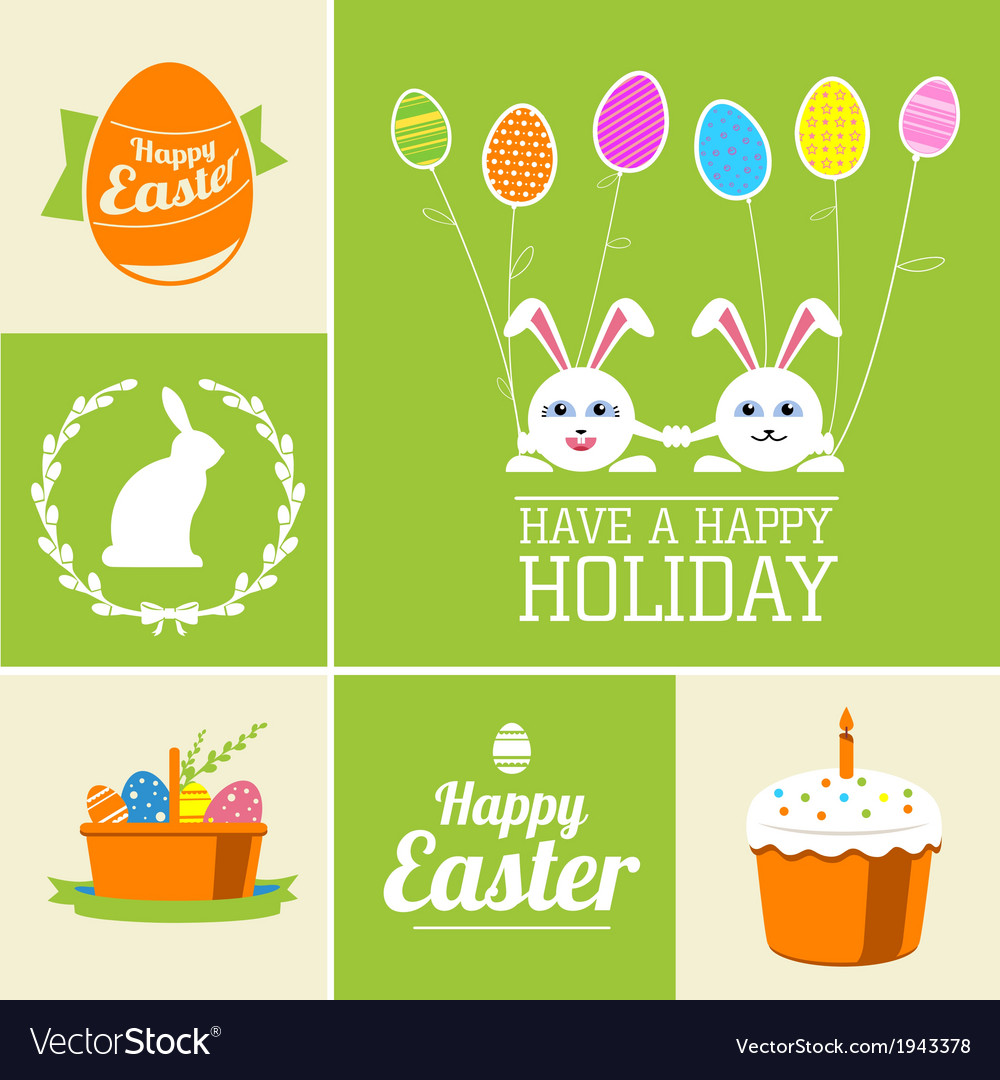 Set of easter decorative elements and label vector | Price: 1 Credit (USD $1)
