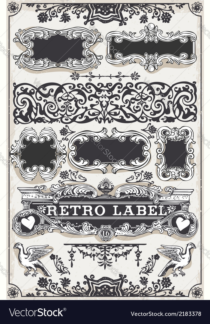 Vintage hand drawn graphic banners and labels vector | Price: 1 Credit (USD $1)