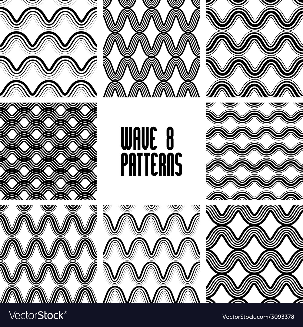 Waves black and white seamless patterns set vector | Price: 1 Credit (USD $1)