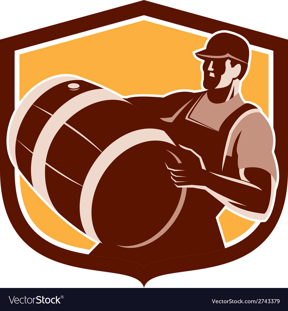 Bartender carrying beer barrel shield retro vector | Price: 1 Credit (USD $1)