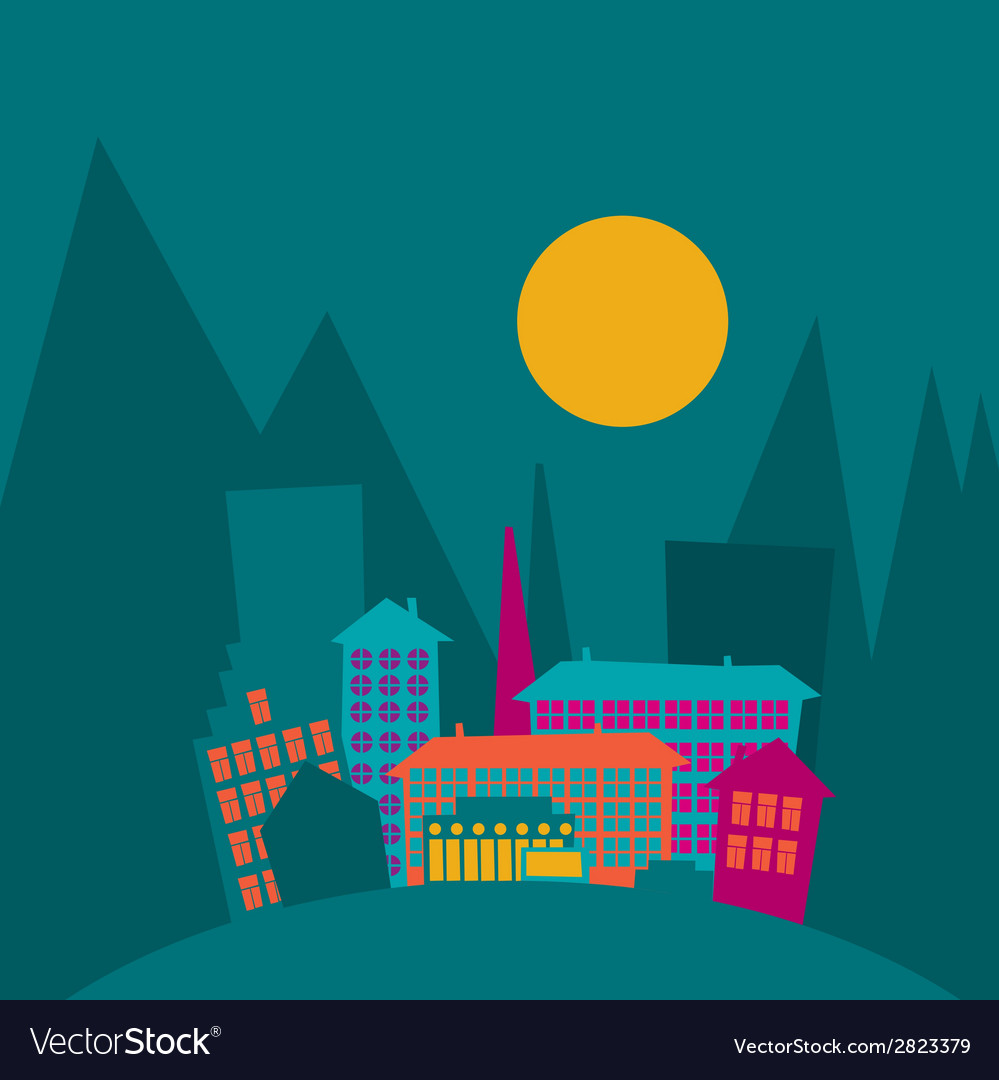 Colorful city vector | Price: 1 Credit (USD $1)