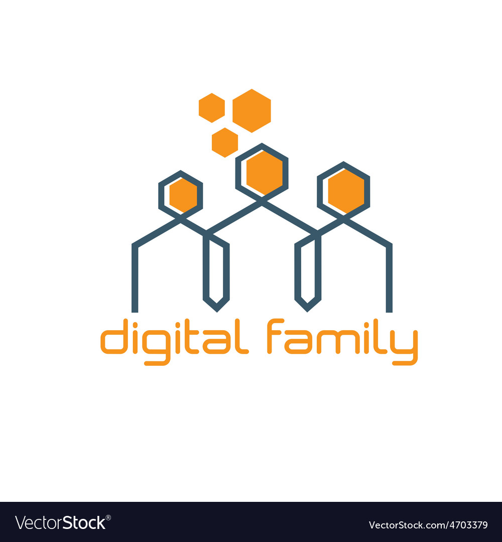 Digital family design template vector | Price: 1 Credit (USD $1)