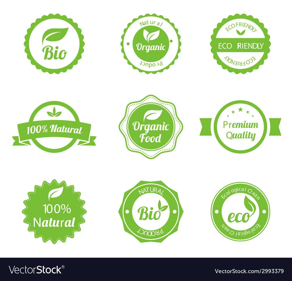 Eco vintage labels bio template set vector | Price: 1 Credit (USD $1)