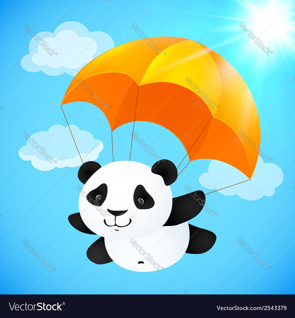Funny cute panda flying with orange parachute vector | Price: 1 Credit (USD $1)