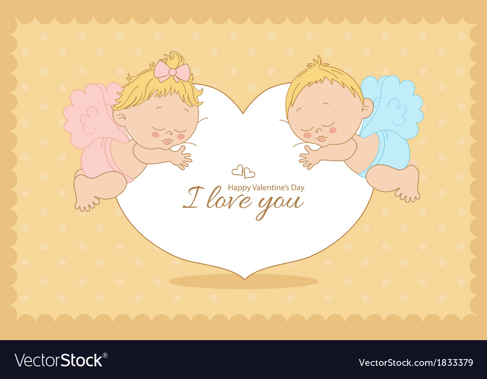 I love you card with cupids horizontal vector | Price: 1 Credit (USD $1)