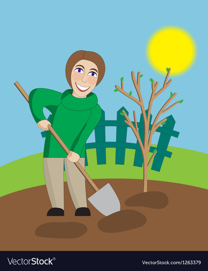 Middle aged woman digs in the spring garden vector | Price: 3 Credit (USD $3)