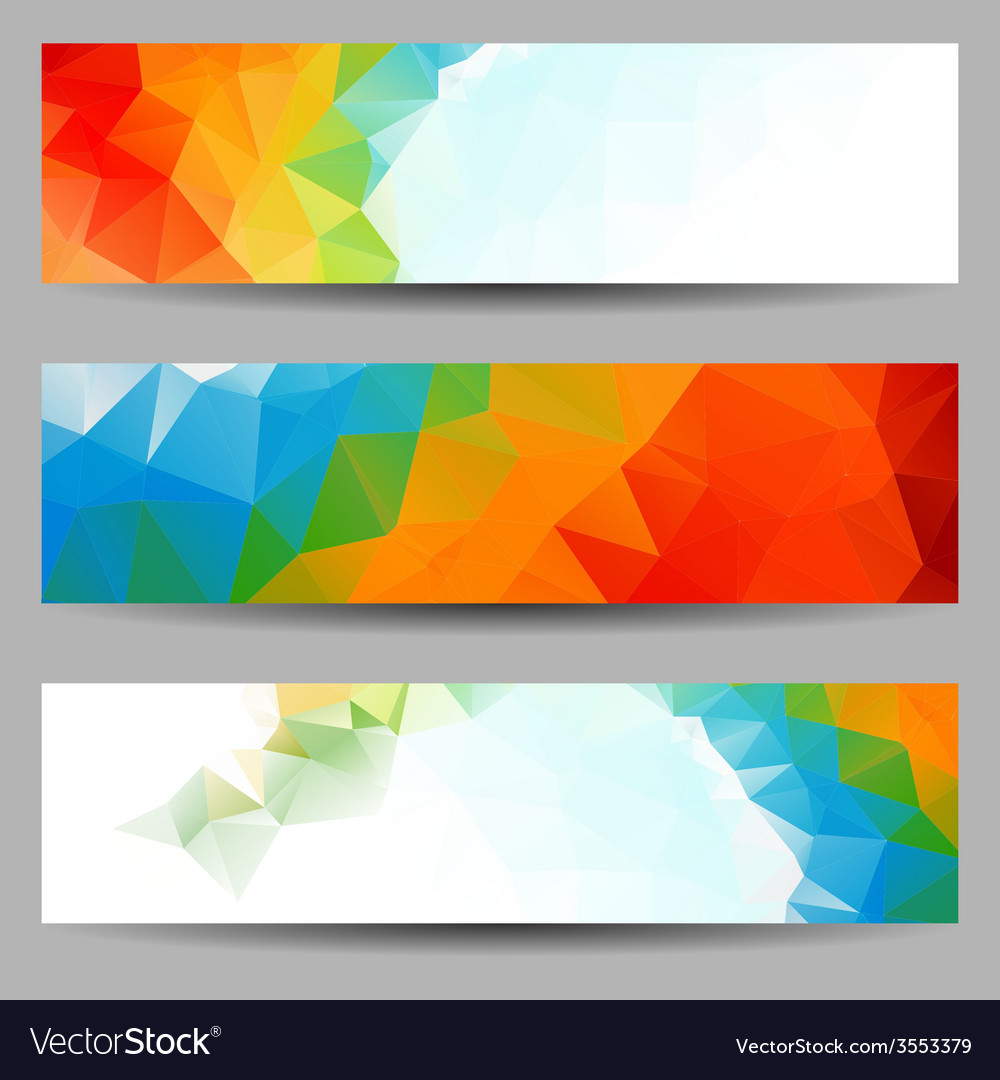 Set of banners with abstract triangles vector | Price: 1 Credit (USD $1)