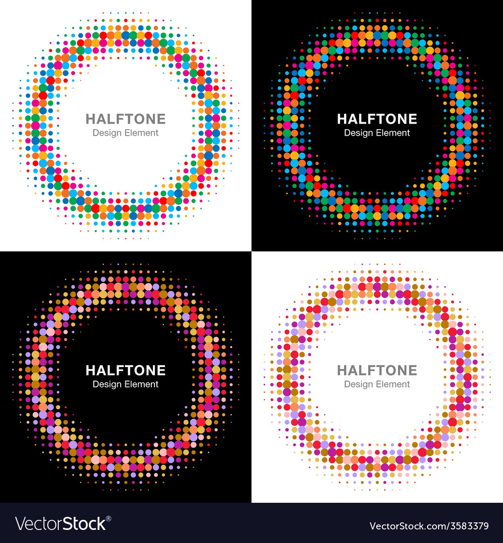 Set of colorful bright halftone circles logo vector | Price: 1 Credit (USD $1)