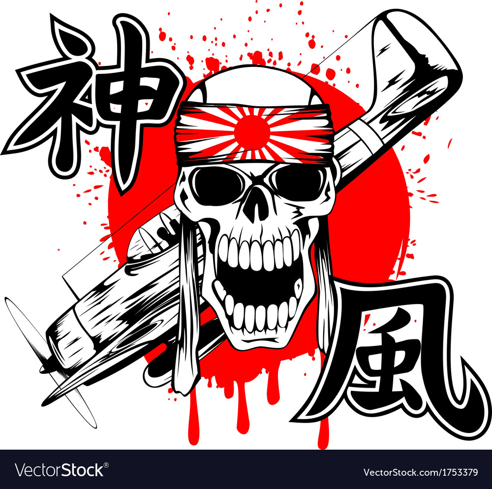 Skull with band and airplane vector | Price: 1 Credit (USD $1)