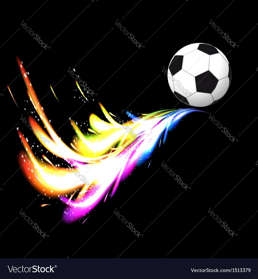 Soccer ball with glowing tail vector | Price: 1 Credit (USD $1)