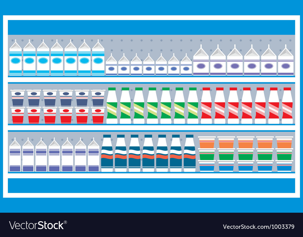 Supermarket shelves with dairy products vector | Price: 1 Credit (USD $1)