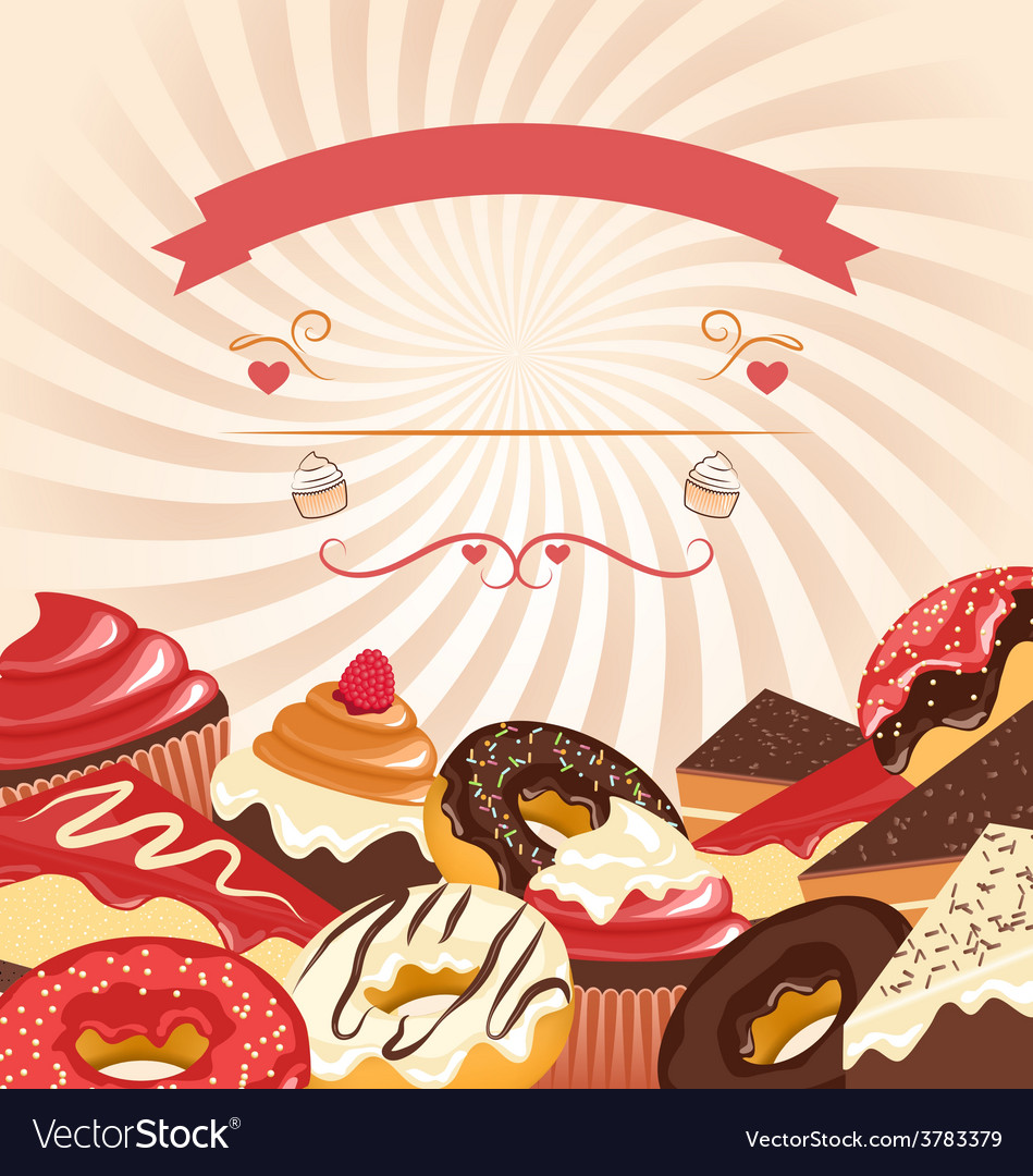 Sweets with radial stripes on beige vector | Price: 1 Credit (USD $1)