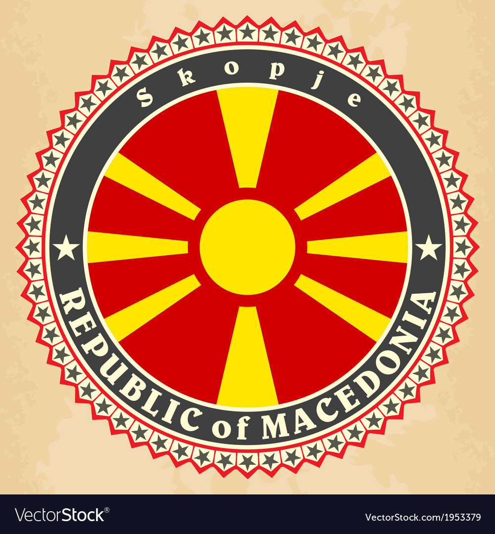 Vintage label cards of macedonia flag vector   Price: 1 Credit (USD $1)