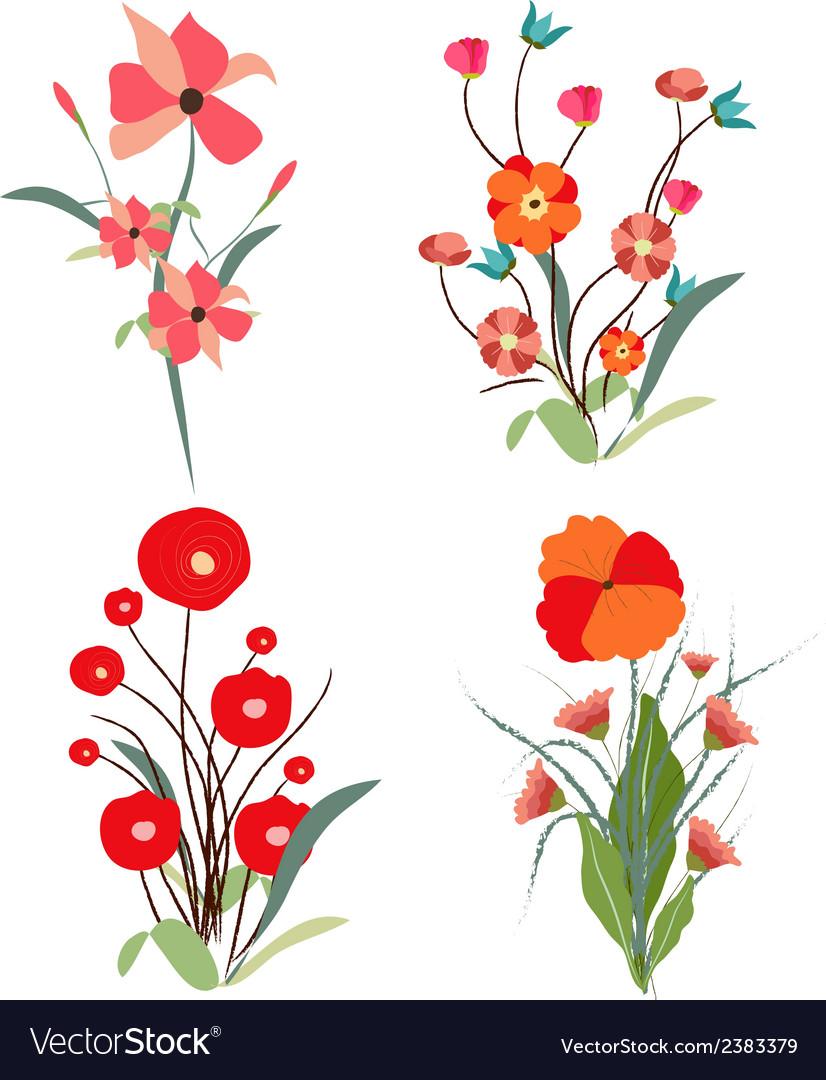 Vintage set of retro flowers vector