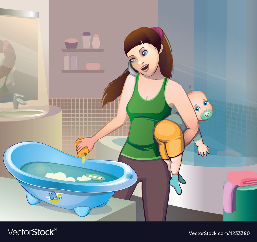 Bathing baby vector | Price: 5 Credit (USD $5)