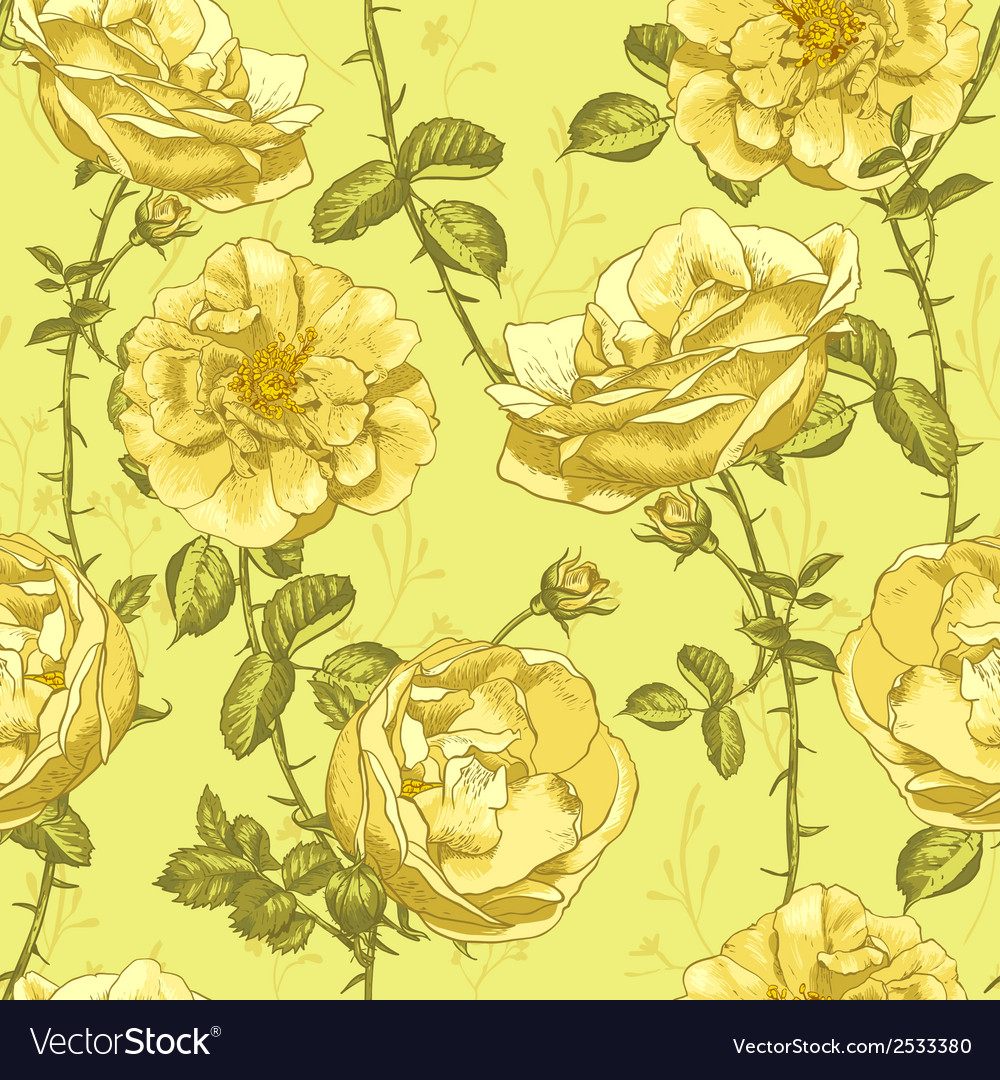 Beautiful vintage seamless roses background vector | Price: 1 Credit (USD $1)