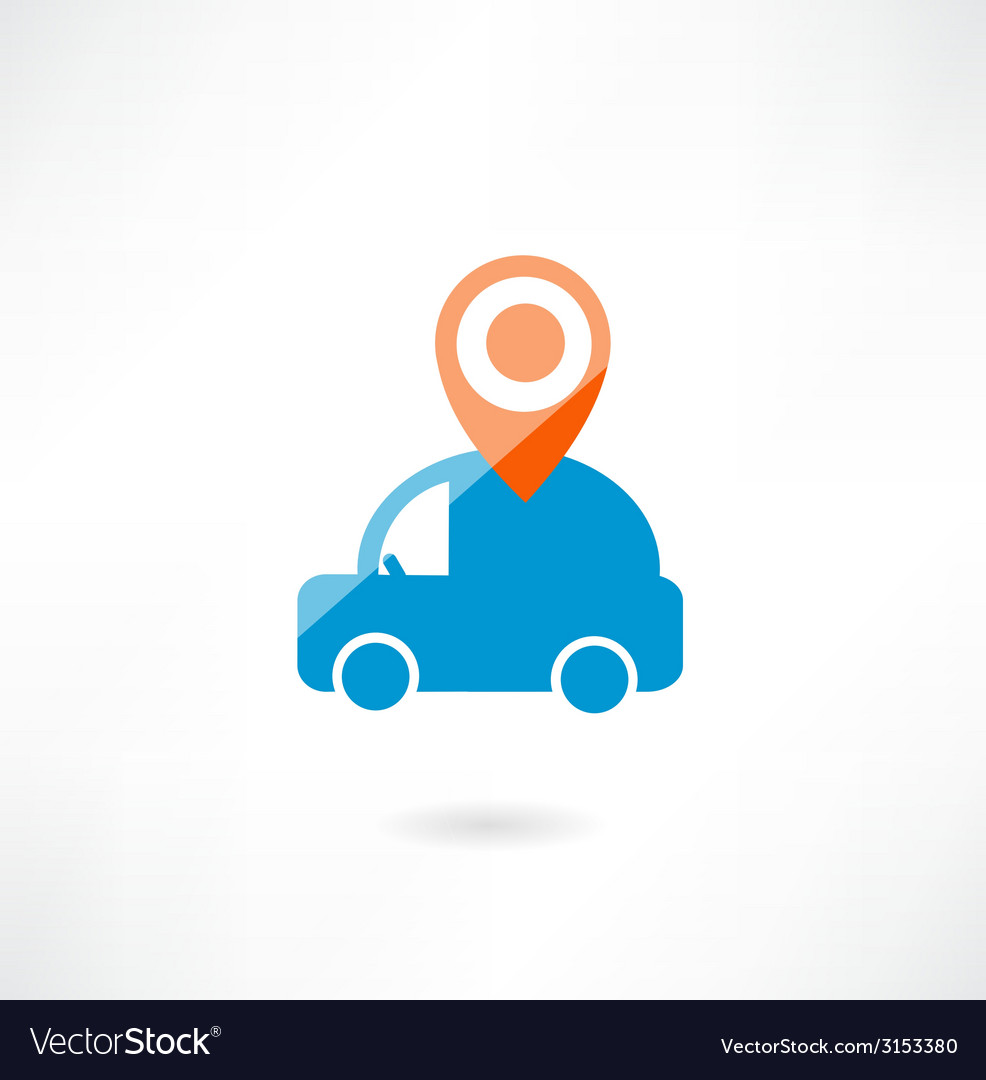 Car with navigation icon vector | Price: 1 Credit (USD $1)
