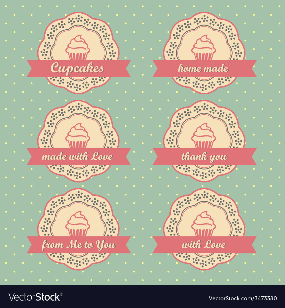 Cupcakes retro style tags set on retro polka dots vector | Price: 1 Credit (USD $1)
