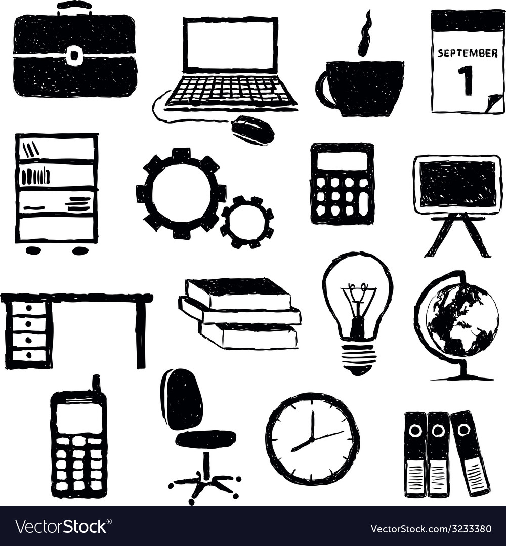 Doodle office images vector | Price: 1 Credit (USD $1)