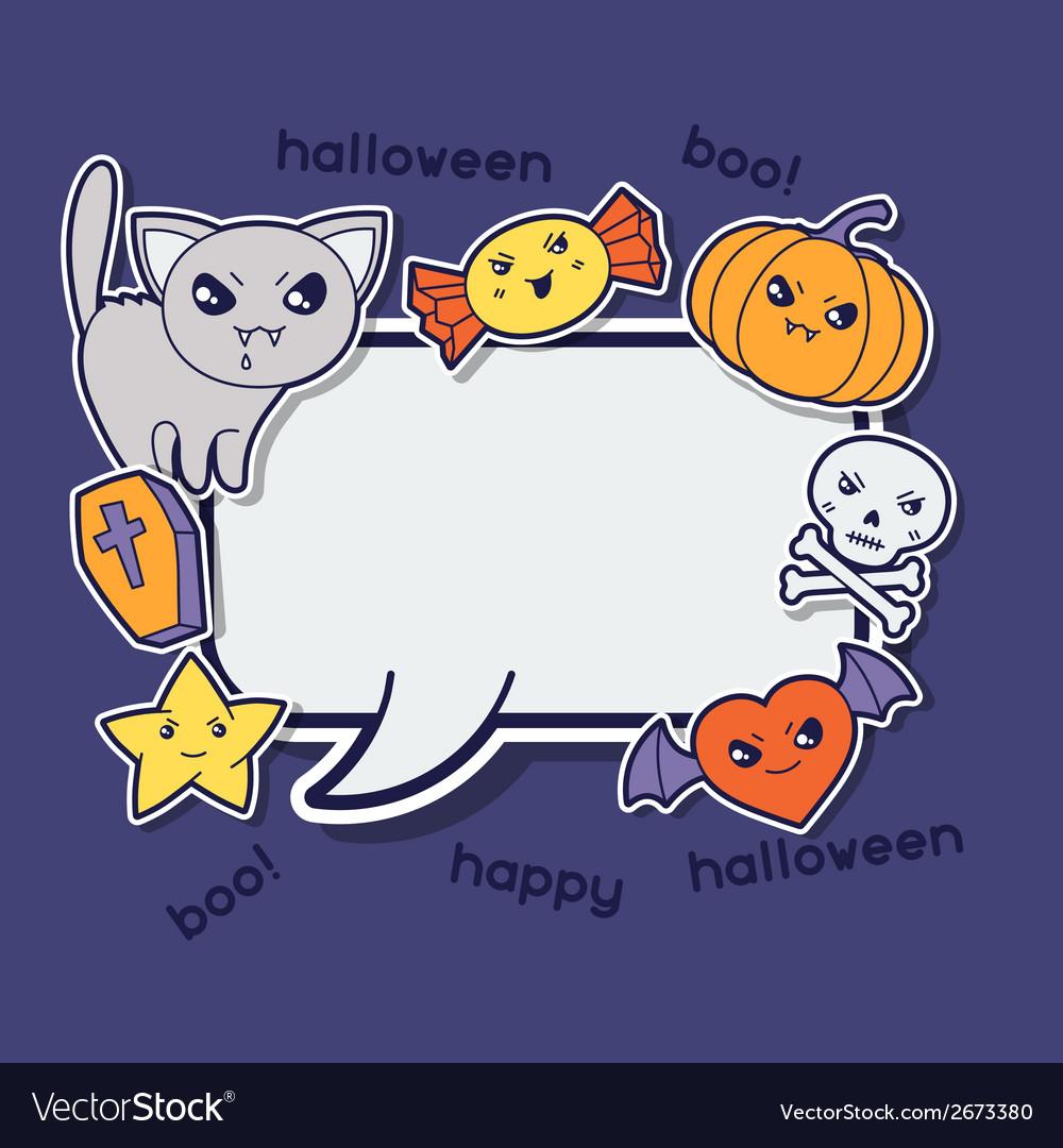 Halloween kawaii greeting card with cute sticker vector | Price: 1 Credit (USD $1)