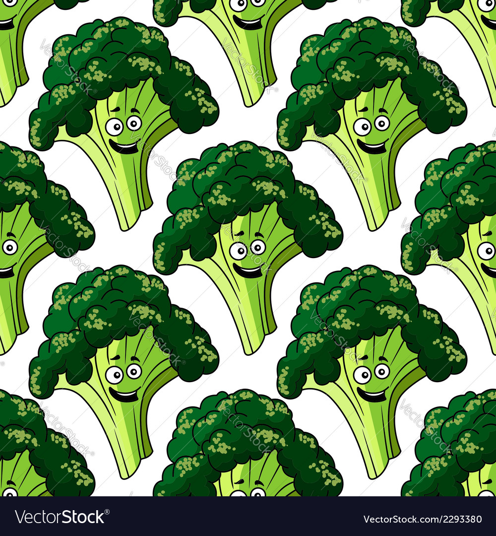 Head of fresh healthy broccoli seamless pattern vector | Price: 1 Credit (USD $1)