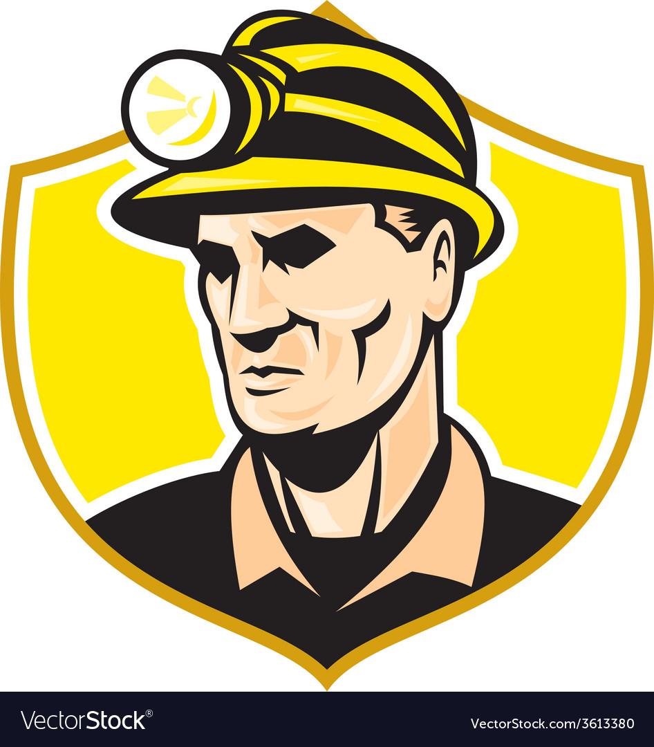 Miner with hardhat helmet shield retro vector | Price: 1 Credit (USD $1)