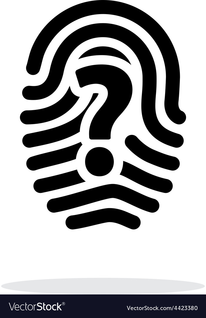 Question mark sign thumbprint icon on white vector | Price: 1 Credit (USD $1)