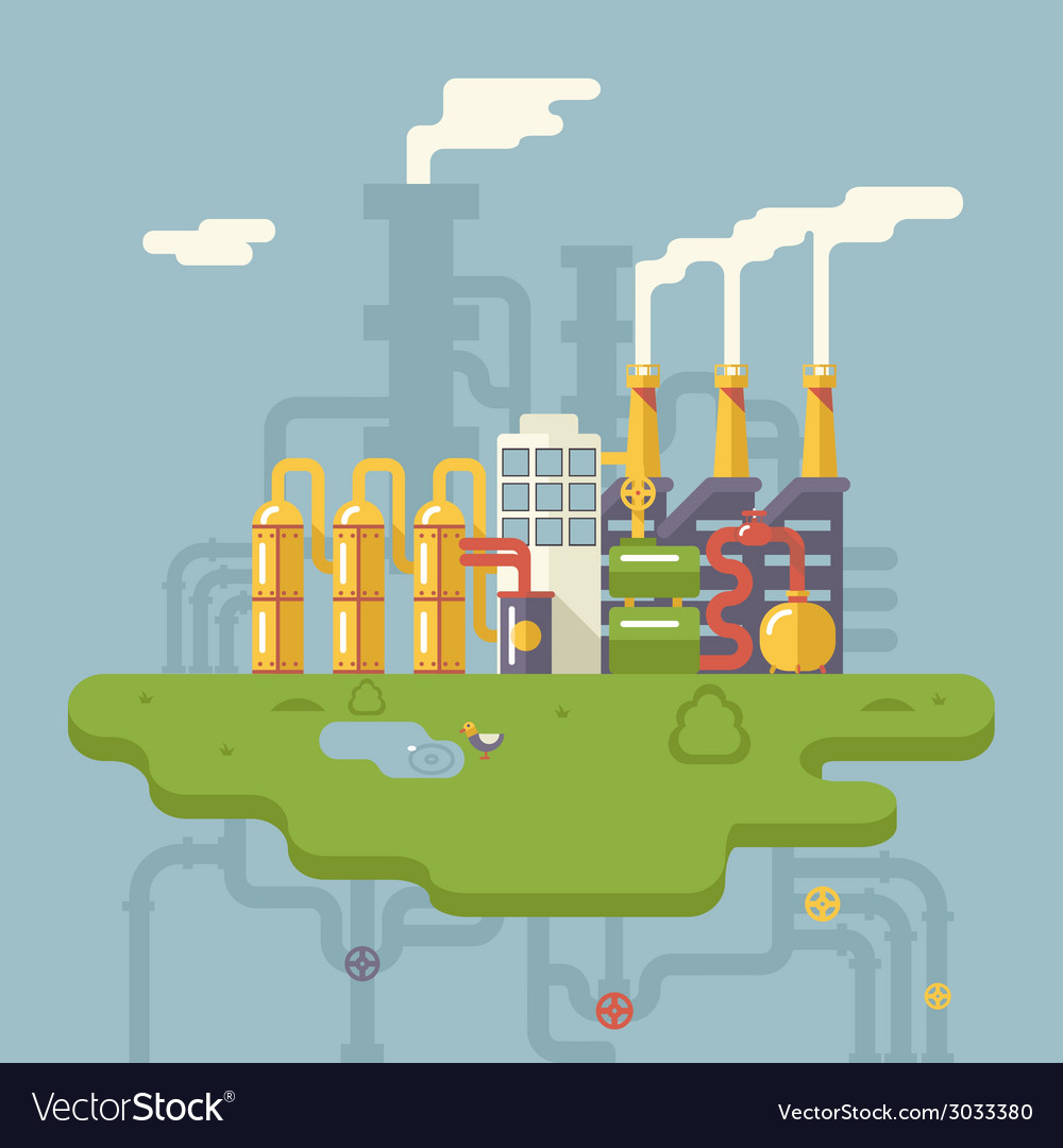 Retro flat factory refinery plant manufacturing vector | Price: 3 Credit (USD $3)