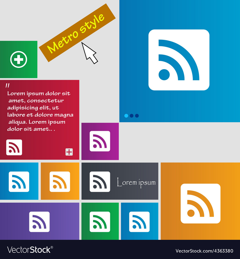 Rss feed icon sign metro style buttons modern vector | Price: 1 Credit (USD $1)